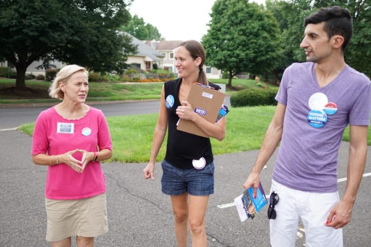 Candidate Maria Collet (left) canvassing with Sister District DC volunteers