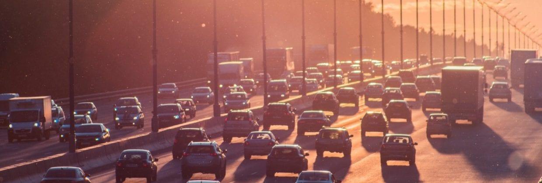 Cars sit in traffic in California