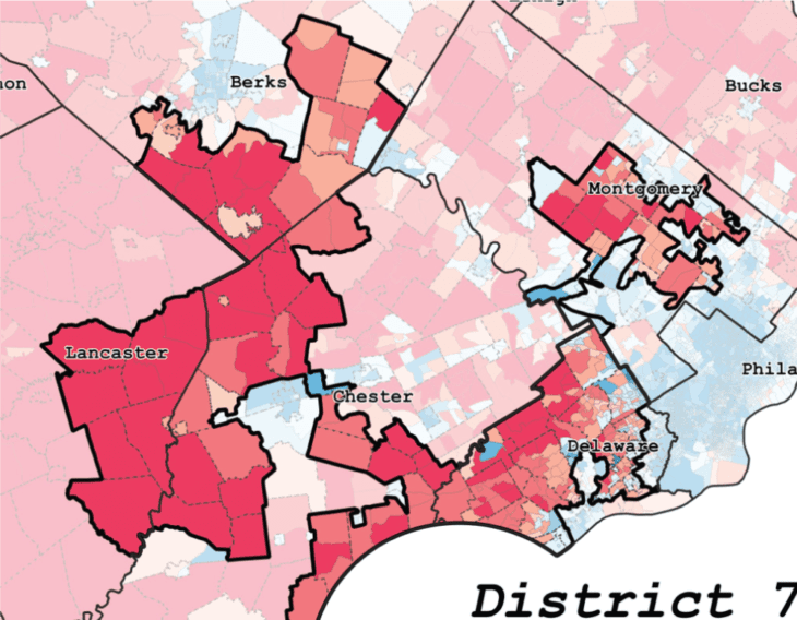 District 7 in Pennsylvania, a badly gerrymandered district demonstrating cracking