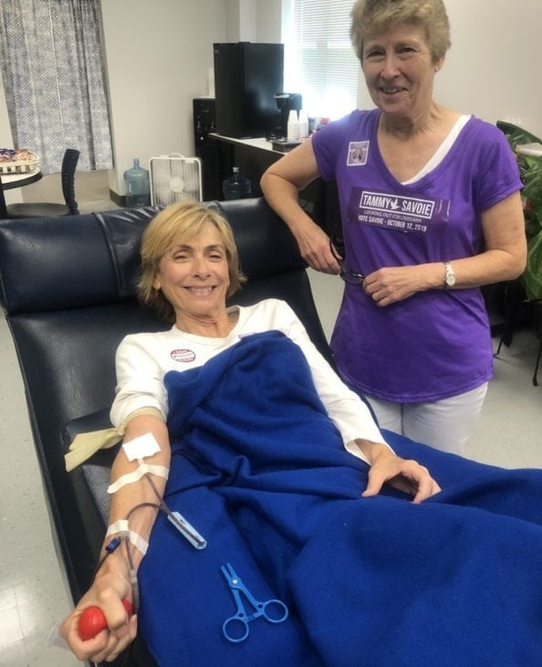 Tammy giving blood