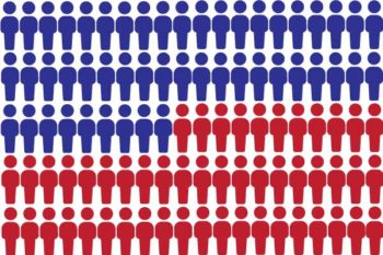Graphic of red and blue people showing House of Delegates is made up of 51 Republicans and 49 Democrats