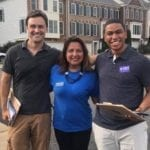 Two male canvassers from San Francisco with candidate Elizabeth Guzman of Virginia