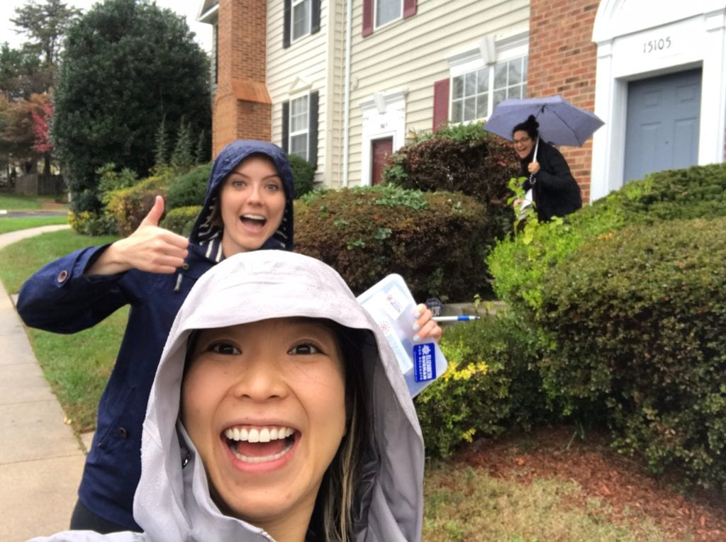 A selfie of co-founders Lala Lyzz and Gaby while canvassing in Virginia in 2017