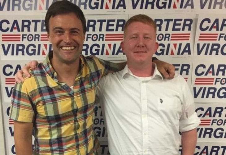 Sister District CA-12 (San Francisco) District Captain Drew Ellsworth with delegate-elect Lee Carter, taken this October at Carter's campaign office in Manassas, Virginia