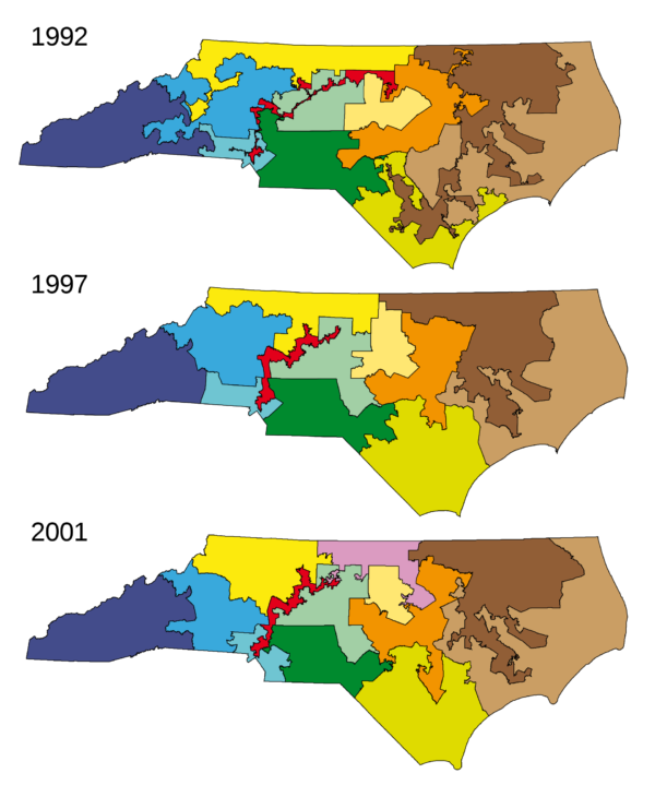 Bizarre and regularly changing geometries of North Carolina's congressional districts: an example of Gerrymandering.