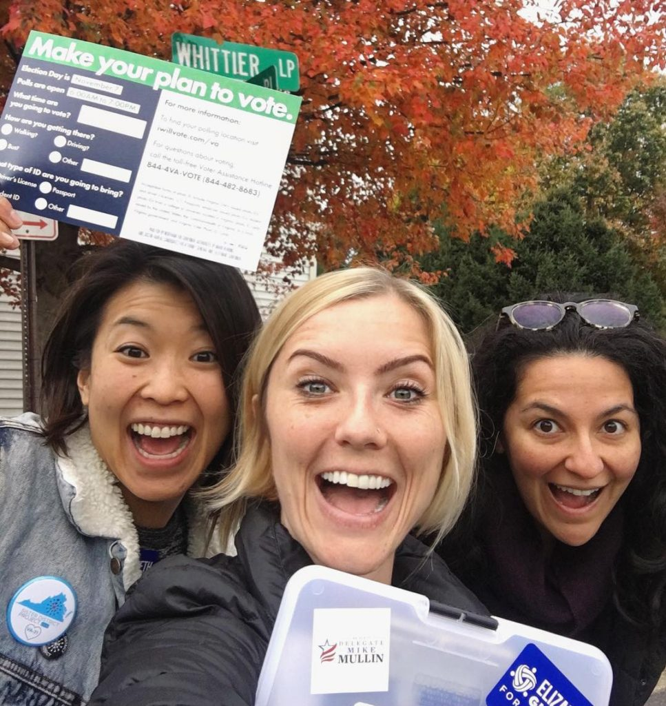 Sister District Co-Founders Gaby, Lyzz, and Lala canvass for Elizabeth Guzman in the historic 2017 Virginia elections.