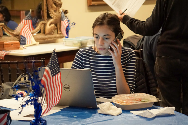 Volunteers make calls on Election eve for Josh Cole and Hala Ayala at the Women's National Democratic Club in Washington