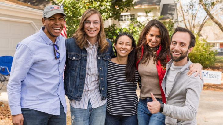 Volunteers from San Francisco canvass for Karen Mallard in Virginia Beach