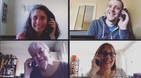 Screenshot of volunteers making phone calls while on videoconference