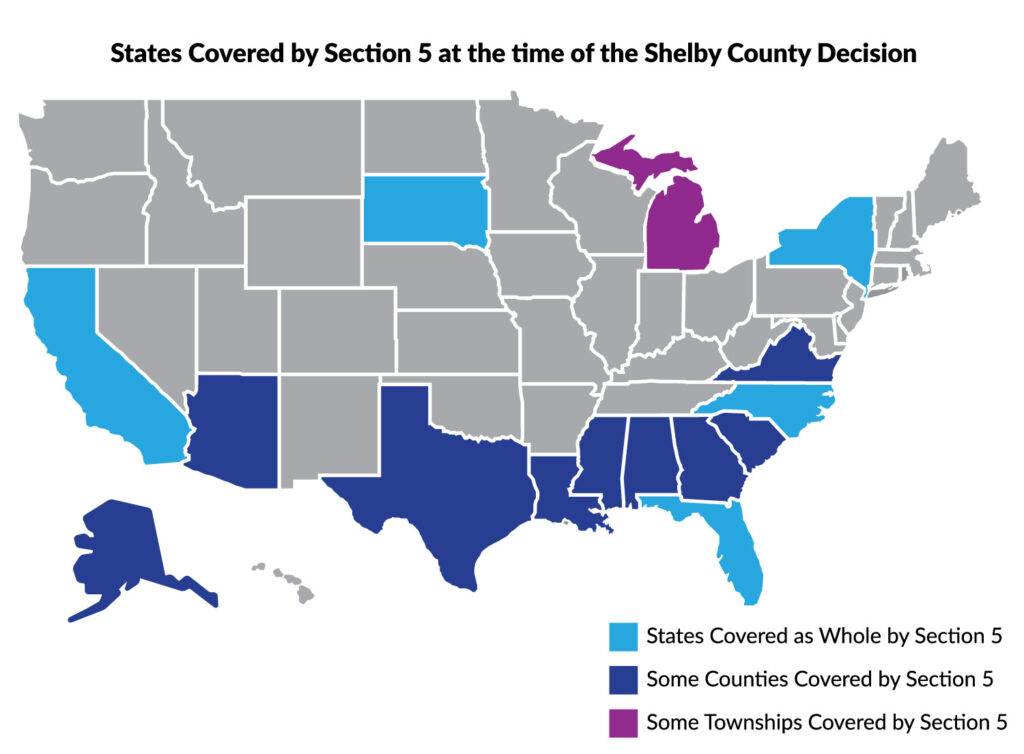 Map of United States with the eleven states covered by Section 5 of the Voting Rights Act shaded