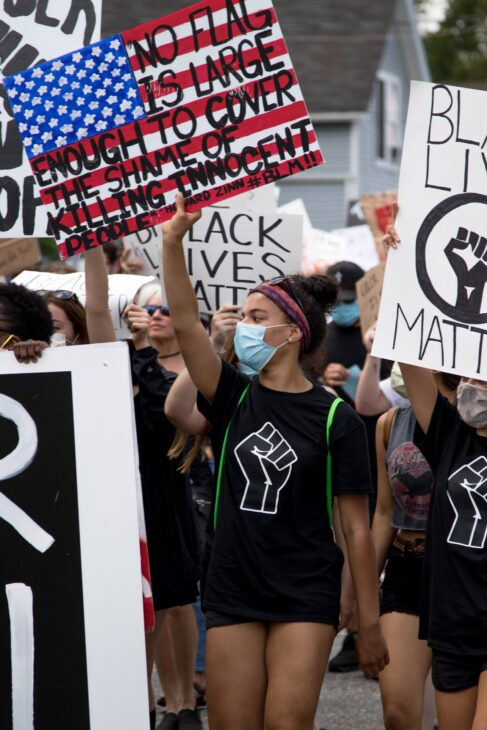 BLM Protesters with Masks on holding signs